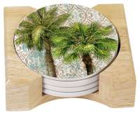 * 4 Aqua Escape Tropical Palm Tree Stone Coasters w/Holder