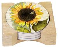 4 Sunflowers in Bloom Cork on Stone Coasters & Holder