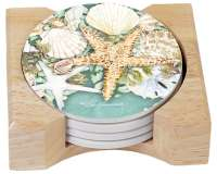 4 Beach Coastal Wreath Seashell Stone Coaster w/holder