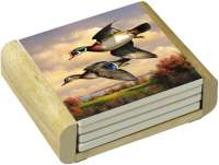 Water Birds Flying Wood Duck Pair 4 Stone Coasters & Holder
