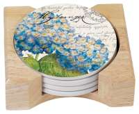 Botanical Blue Hydrangeas Floral 4 Stone Coasters w/Holder