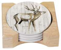Cabin Lodge Woodland Deer 4 Stone Coasters & Holder