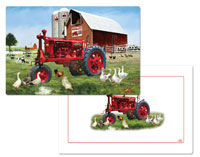 A Barnyard (Cow, Rooster, Harvester) Placemat
