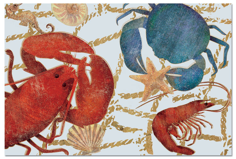 Frosted Clear Plastic 4 Beach Placemats Ocean Delicacies