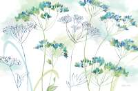 4 Translucent Plastic Placemats Blue Indigo Wildflowers