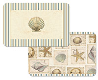 A Coastal Placemat Set Vinyl-Plastic Seashell Collage