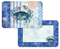 A Beach Coastal Blue Crab Sea Stripes 4 Plastic Placemats