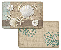 4 Linen Seashell Coastal Beach 4 Plastic Placemats