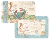 A Coastal Beach Seaside Blue Crab Placemat Set  Vinyl/Plastic