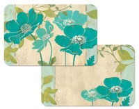 Modern Blue Poppy Floral 4 Plastic Placemats
