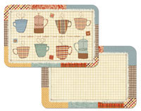Coffee Theme - Patchwork Cafe  4 Vinyl/Plastic Placemats