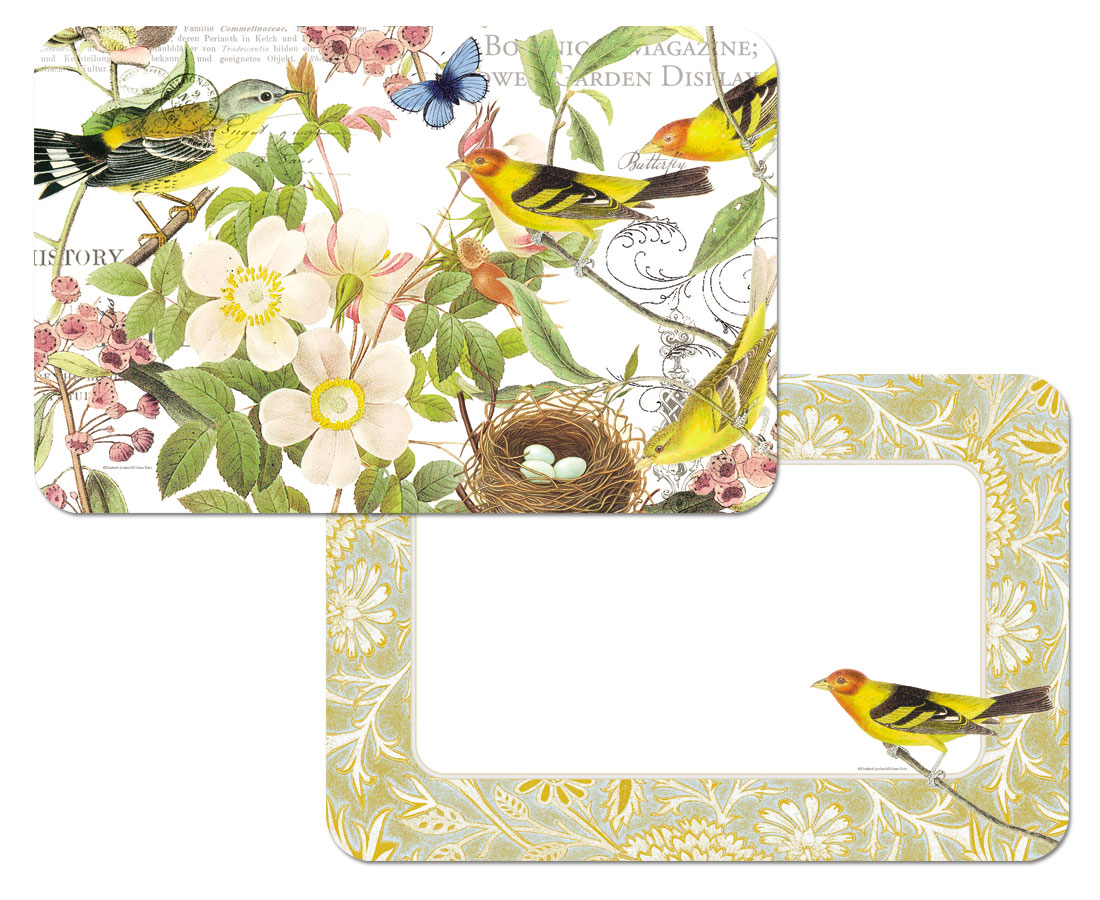 Botanical Birds 4 Plastic Placemats Reversible