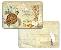 4 Plastic Placemats Coastal Waterways Turtle, Egret, Beach