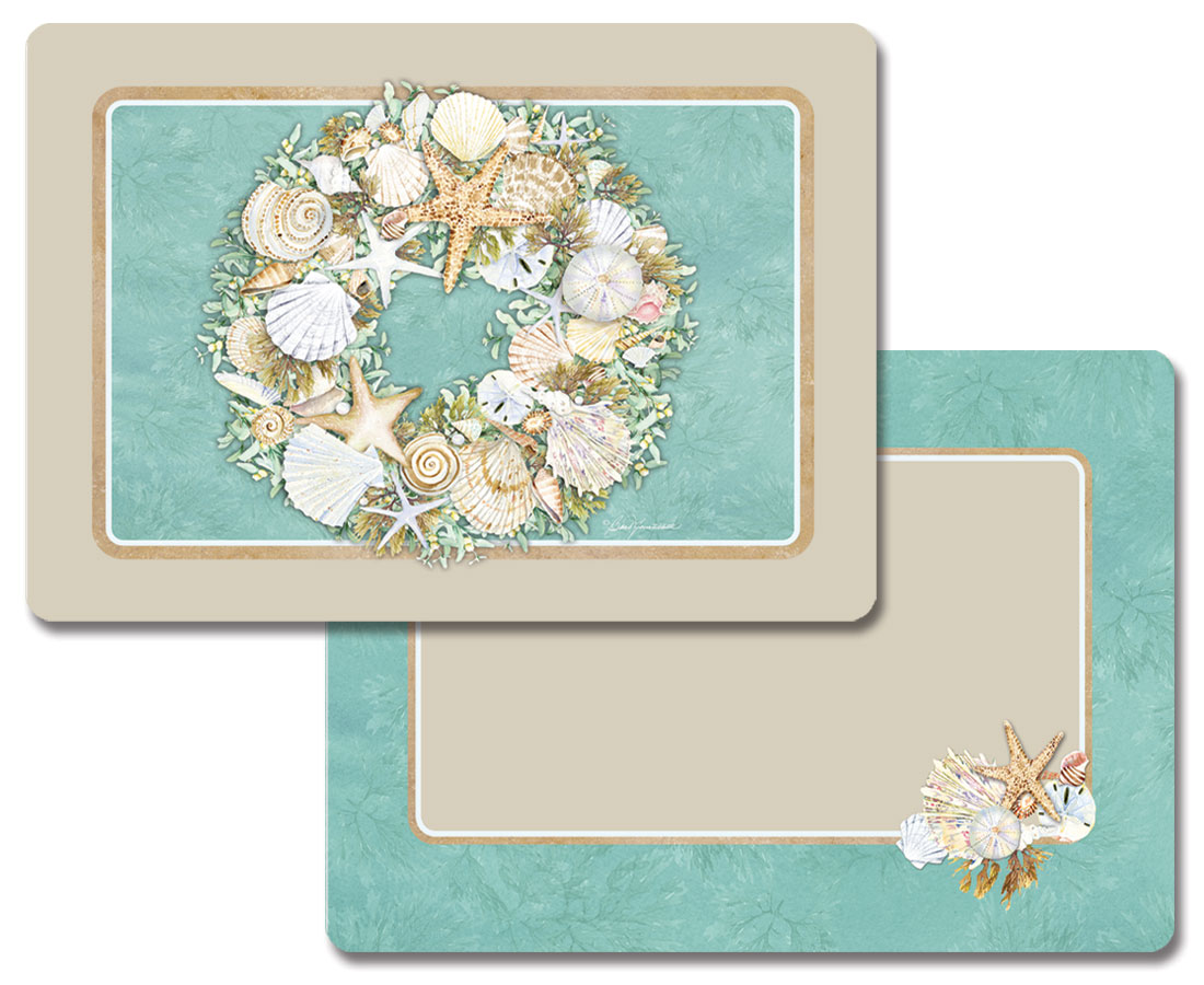 A Coastal Wreath Seashells Vinyl Plastic Placemats