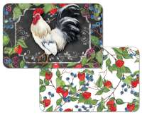 * 4 Reversible Plastic Placemats White Farm Rooster