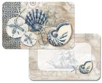 4 Coastal Beach Vinyl Plastic Placemats Tide Pool Shells