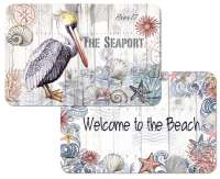 * 4 Beach Coastal Pelican Plastic Placemats Harbor Life