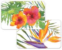* 4 Bright Tropical Paradise Floral Plastic Placemats