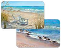 * 4 Coastal Beach Plastic Placemats Ocean View