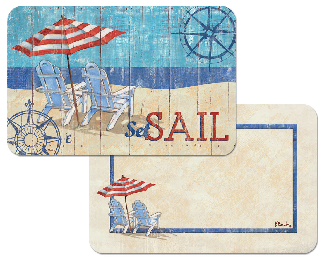 4 Coastal Beach Nautical plastic placemats Seas The Day