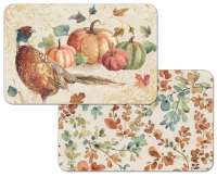 4 Autumn Harvest Leaves Pheasant/Pumpkin Plastic Placemat