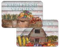 * 4 Wipe-Clean Reversible Plastic Placemats Farm To Table