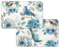 * 4 Floral Reversible Plastic Placemats Indigold