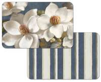 * 4 Floral Reversible Plastic Placemats Magnolia on Blue