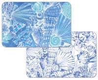 * 4 Vinyl Plastic Coastal Beach Placemats Deep Sea