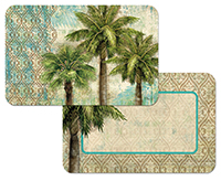 Aqua Escape Tropical Palm Tree Plastic 4 Placemats