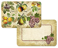 4 Old World Apple Pear Grape Fruit Vinyl-Plastic Placemats