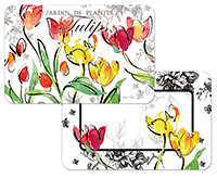 4 Tulips Floral Wipe-clean Vinyl-Plastic Placemats