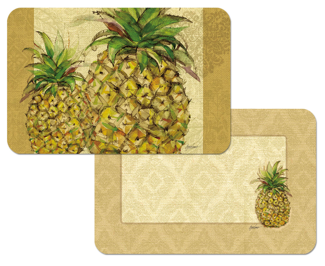 Tropical Themed 4 Pineapple Vinyl Plastic Placemats