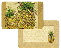~ Tropical Themed 4 Pineapple Vinyl-Plastic Placemats