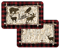 4 Rustic Birch Cabin/Lodge/Bear/Deer Plastic Placemats
