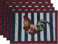 4 Cloth Fabric Tapestry Placemats-Americana Rooster