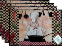 4 Cloth Fabric Tapestry Placemats-French Chef