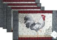 4 Cloth Fabric Tapestry Placemats-Fr.Rooster