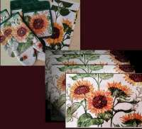 * 4 Sunflower Cloth Fabric Tapestry Placemats & Towels CLEARANCE