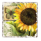 Sunflowers in Bloom Cork-Backed Ceramic Tile Trivet Set of 2