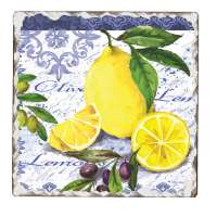 Fruit Lemons & Olives Cork-Backed Ceramic Tile Trivet Set of 2