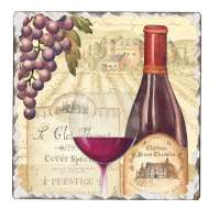 * Absorbent Stone Cork-BackedTile Trivet Wine Tradition