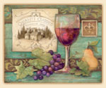 * Wine Grape Theme Glass Cuttingboard - Chianti Label