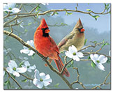 * Beautiful Songbirds Cardinals Glass Cuttingboard