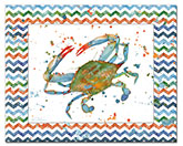 * Coastal/Beach Blue Crab Glass Cuttingboard-Lagoon