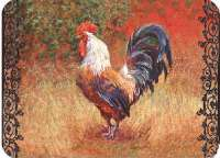 * Farm Glass Cuttingboard Serving Trivet Wrought Iron Rooster