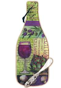 `Wine Bottle Collage Glass Cheese Cuttingboard