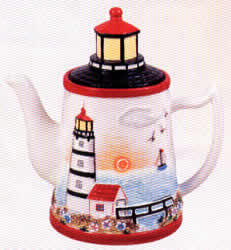Ceramic Teapot Lighthouse Coastal Beach
