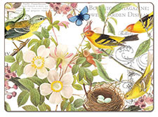 4 Cork Backed Hardboard Placemats Botanical Birds