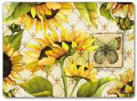 4 Cork Backed Hardboard Placemats Sunflowers in Bloom